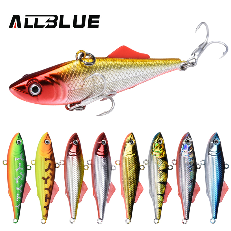 ALLBLUE KALIKA VIB 65S Sinking Vibration Fishing Lure Hard Plastic Artificial VIB Winter Ice Jigging Pike Bait Tackle Isca Peche smart sinking vibration fishing lure 8cm 17 2g plastic vib bait isca artificial pesca peche leurre dur winter ice fishing tackle