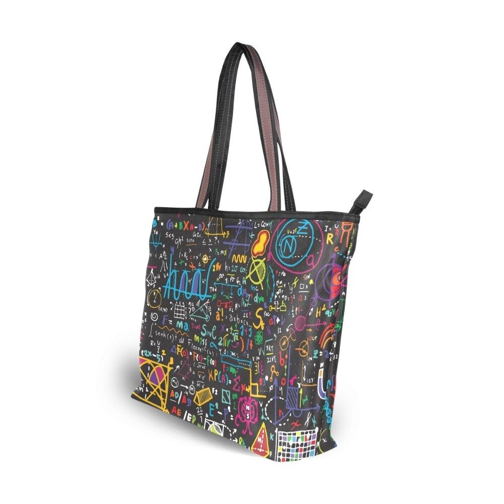 Travel Luggage Duffle Bag Lightweight Portable Handbag Math Pattern Large Capacity Waterproof Foldable Storage Tote