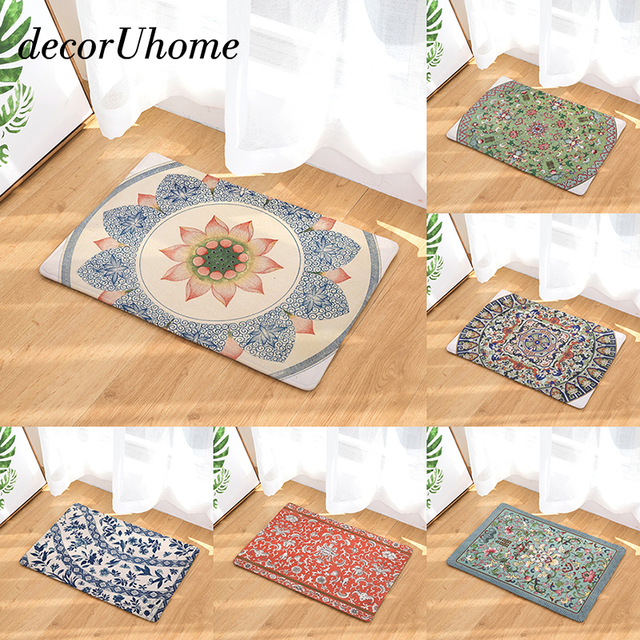 Decoruhome Bohemia Waterproof Outdoor Mat Vintage Flowers Kitchen Rugs Bedroom Carpets Decorative Stair Mats Home Decor