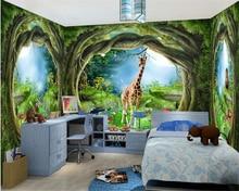 beibehang 3D three-dimensional decorative wall paper fantasy forest big tree animal giraffe full house theme mural 3d wallpaper