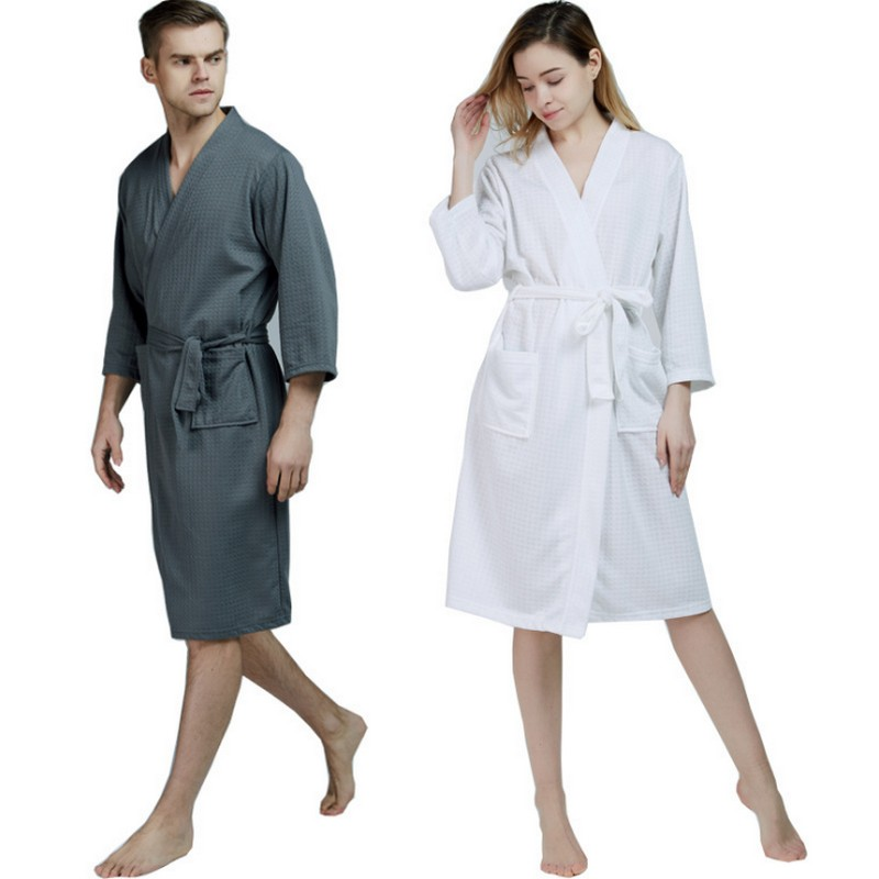100% Cotton Plus Size Waffle Kimono Bath Robe Men Towel Suck Sweat Knee  Length Bathrobe Male Summer Sexy Dressing Gown for Wome 282a81008