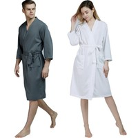 100% Cotton Plus Size Waffle Kimono Bath Robe Men Towel Suck Sweat Knee Length Bathrobe Male Summer Sexy Dressing Gown for Wome