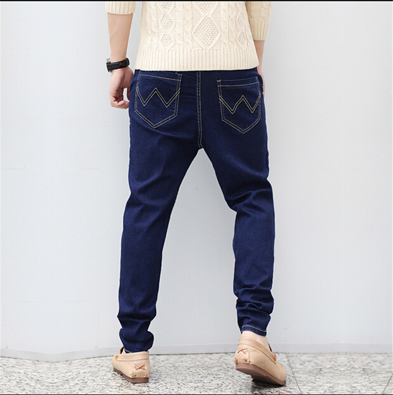 ФОТО 2016 New Men's Clothing Stretch Denim Joggers Jeans Men Cotton Loose Jeans Fashion Harem Pants Plus Size M-6XL Tapered Pants