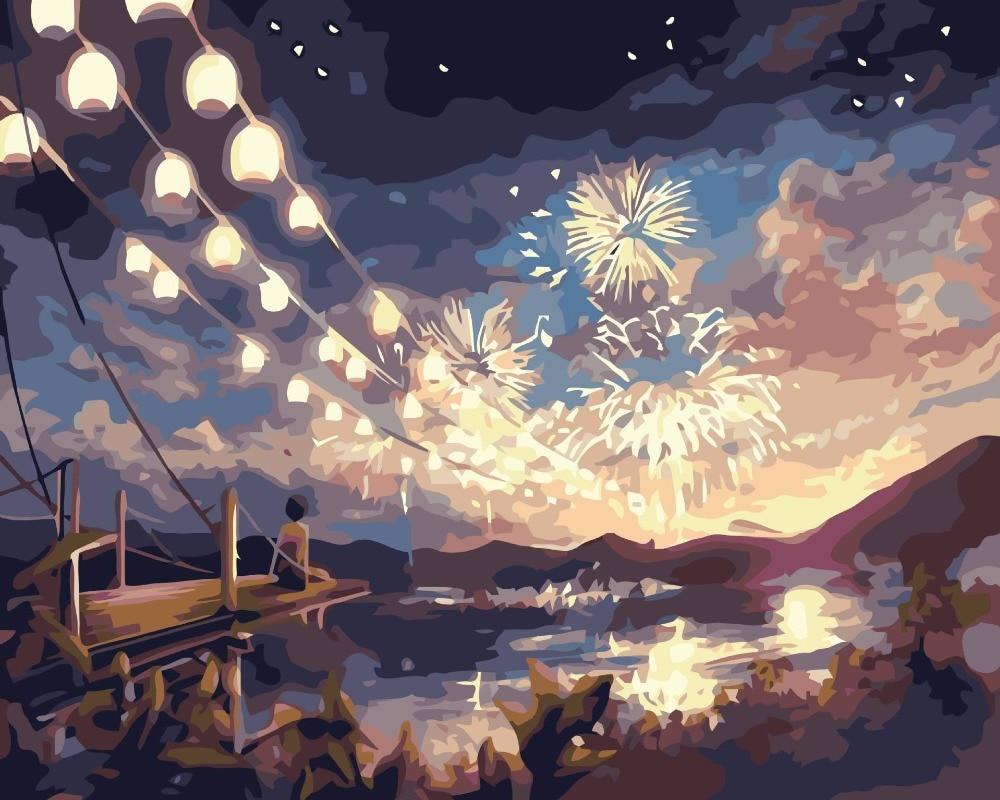 US $7 99 Frameless Diy Lukisan Minyak By Nomor Kanvas Landscape Gambar Cat By Nomor Kanvas Mewarnai By Nomor Kerajinan Kembang Api Musim In Painting
