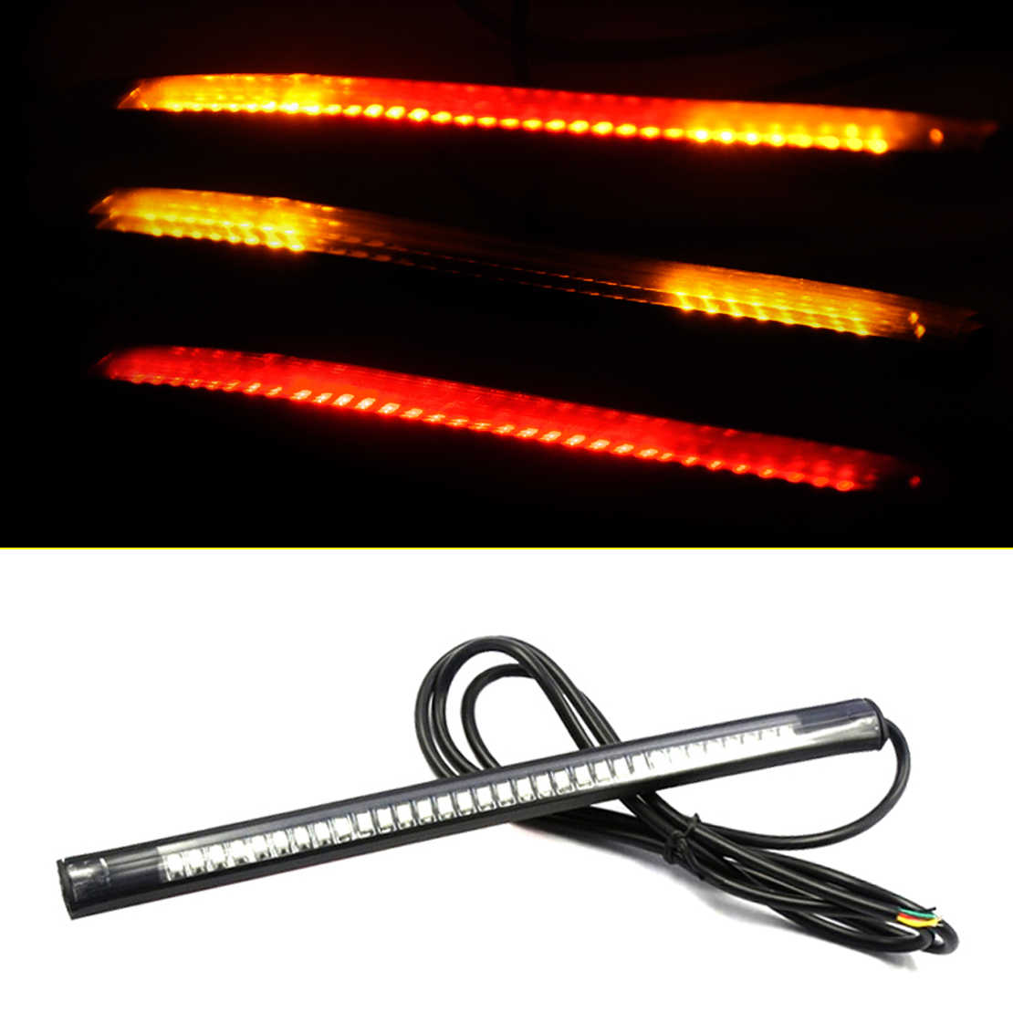 NEW 12V Flexible Motorcycle 48LED Light Strip Brake and Stop turn  Signal Lamps