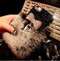 Arco de diamante casos de telefone d pele de coelho cabelo projeto case capa do telefone para samsung galaxy note 3 4 5 s7edge s6edge plus s5 s7 s6 c5