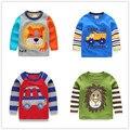 Vidmid 1-6y niños t-shirt kids tees camisetas bebé niño cardigan blusa chaqueta suéter de los niños de manga larga 100% algodón león coches