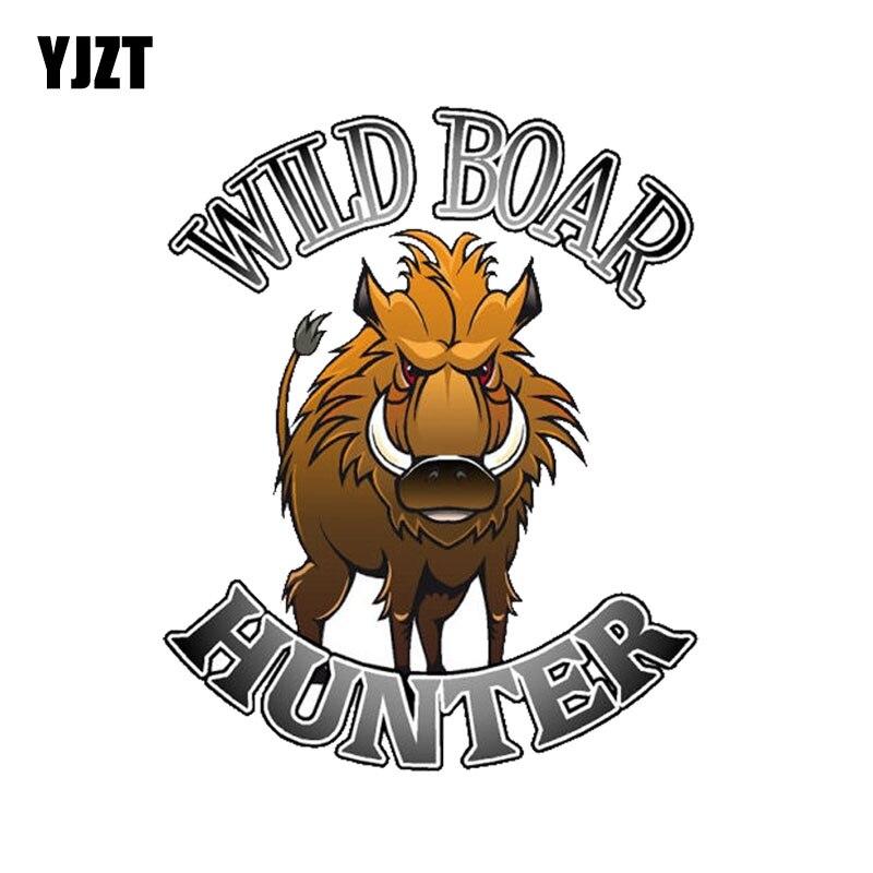 YJZT 9.6CM*11.7CM Funny  Wild Boar Hunter Hunting PVC Motorcycle Car Sticker 11-00355