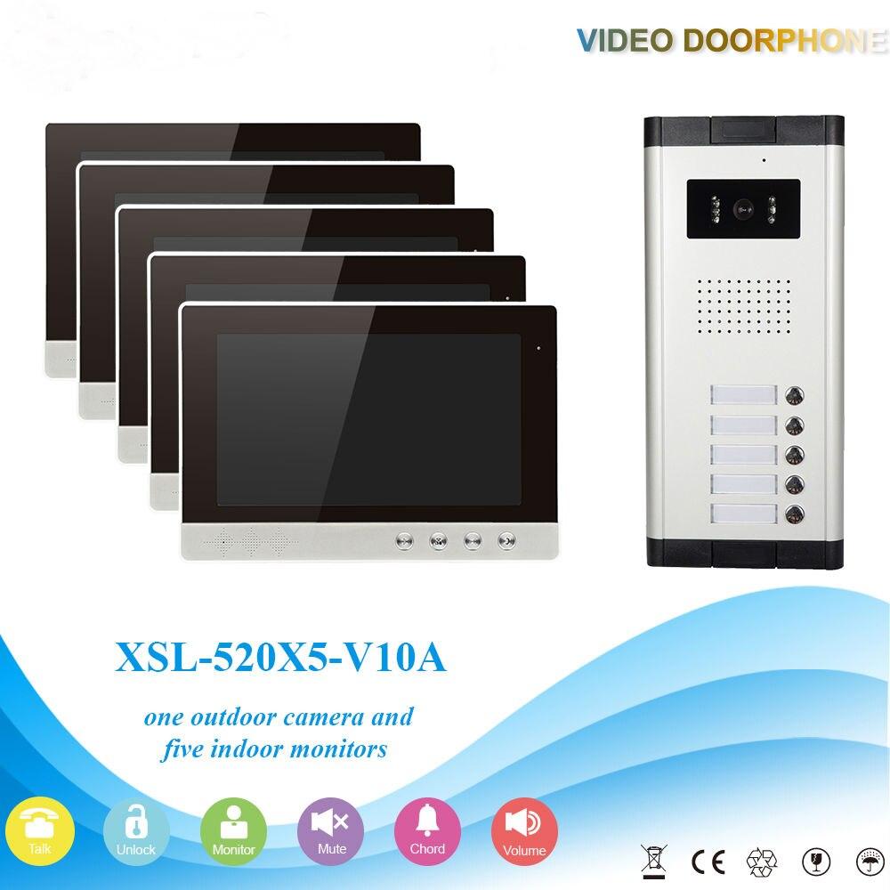 Yobangsecurity Видеодомофоны Мониторы 10-дюймовый видео Дверные звонки Камера Системы домофон доступа Системы для 5 единиц квартиры