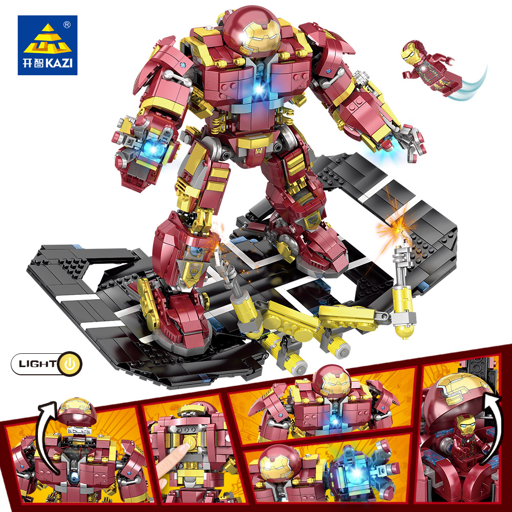 KAZI 1620 pcs Compatible With Legoingly Marvel Super Heroes Iron Man Hulk Buster Figures Robo Building Blocks toys for children new building blocks ninja emmet wyldstyle sheriff gordon zola bad cop robo swat brick toys for children l009 016