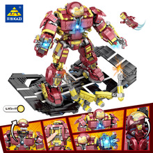 KAZI 1620 pcs Compatible With Legoingly Marvel Super Heroes Iron Man Hulk Buster Figures Robo Building Blocks toys for children