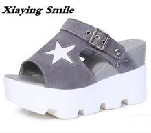 Xiaying Lächeln Sommer Frau Hausschuhe Feste Sandalen Mode Freizeit Wedges Flock Creeper Rutschen Hausschuhe Schnalle Frauen Schuhe