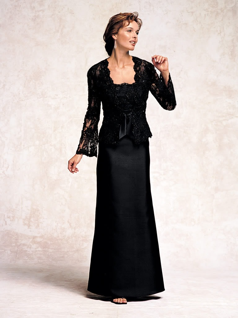 Satin mother 39 s dress lace with jacket mother of the bride for Black lace jacket for wedding dress
