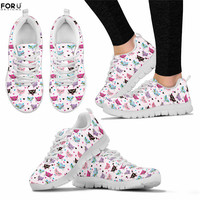 FORUDESIGNS Platform Shoes Women Pink Cute Cat Prints Breathable Sneakers for Teen Girls Ladies Light Casual Shoes scarpe donna