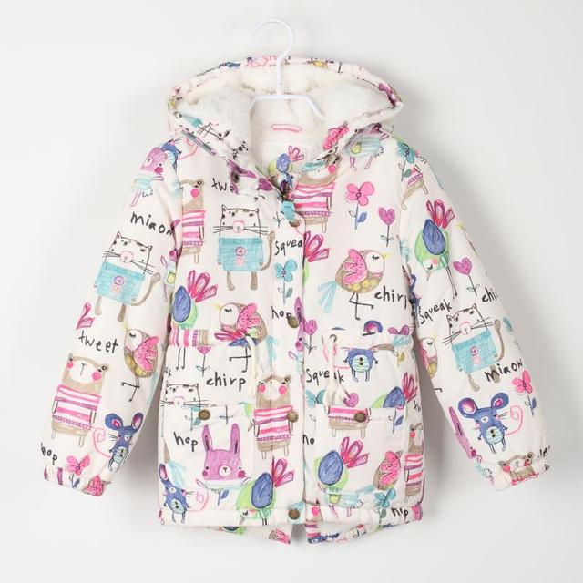 a66b07fb7 New Winter children Jackets   Coats Girls Graffiti Parkas Hooded ...