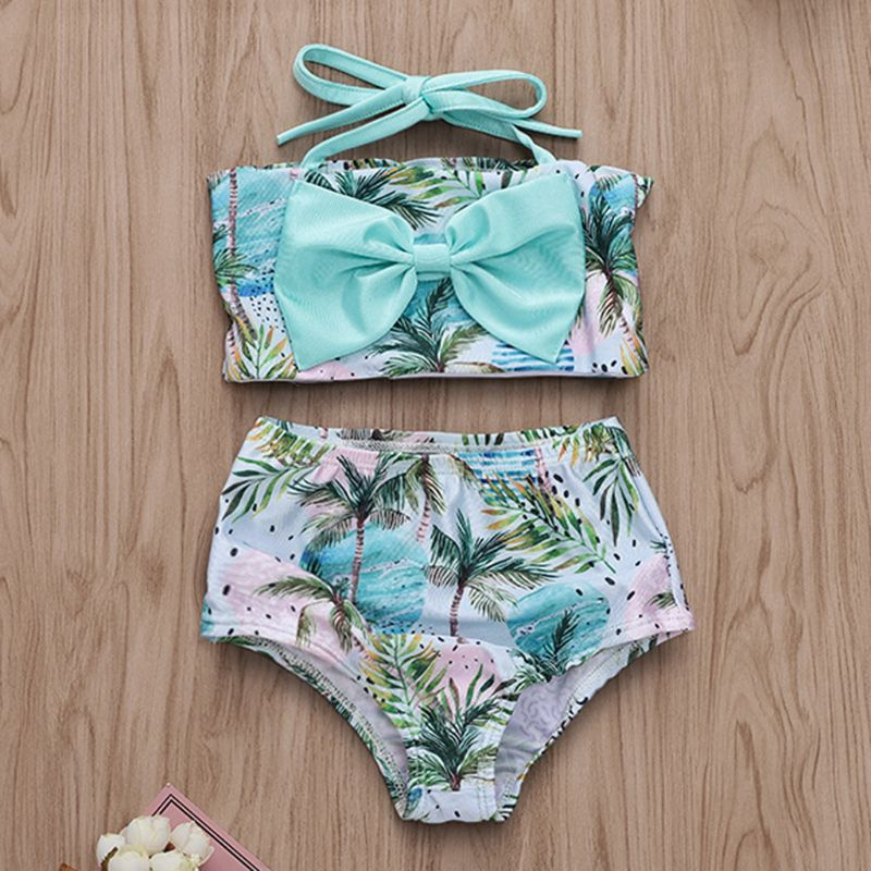 2 Pcs set Children Kids Cute Swimsuit Coconut Wave Printing Girls Sling Split Type Swimsuits Seaside Swimming Pool Clothes Suit in Clothing Sets from Mother Kids