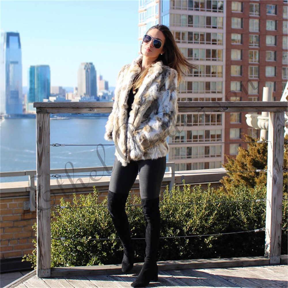 Ethel Anderson Real granja abrigo de piel de conejo de patrón de rayas de longitud completa abrigo de manga Hip-longitud Outwear