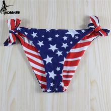 все цены на 2016 Floral Swimwear Women Thong Vintage Bikini Bottom Tie Side Adjustable Swimsuit Thong/Double-Side Women Bathing Suit Bottom  онлайн