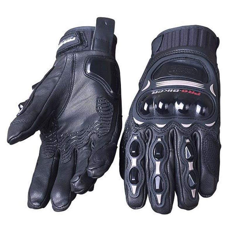 PRO BIKER Full Finger Gloves Leather Goat Skin Motorcycle Racing Gloves CS05 black XL