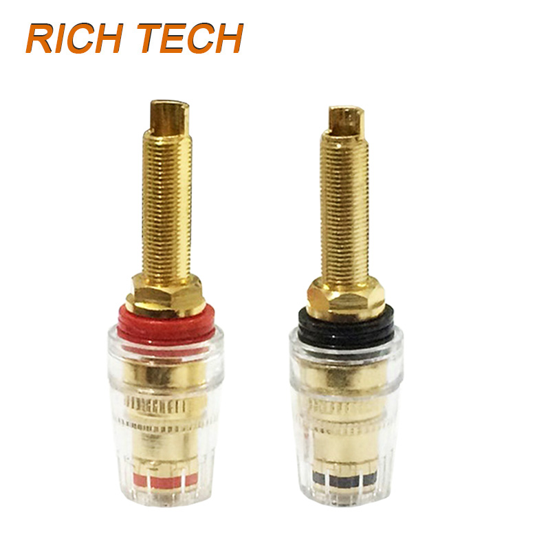 12pcs/lot Banana Plug Jack Terminals Gold Plated Audio Speaker Amplifier Binding Post Banana Terminals Connector Black & Red 250 pcs musical audio speaker cable wire 4mm gold plated banana plug connector