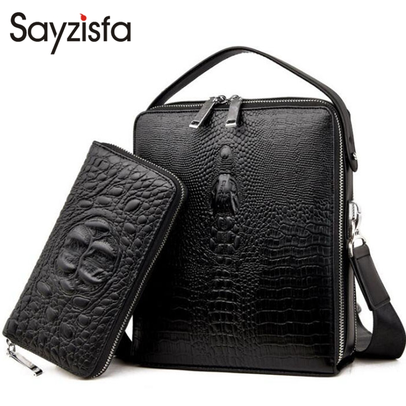 Sayzisfa Famous Brand New Men Handbags Genuine Leather Man Business Shoulder Bags Male Tote Messenger Bag Leisure Briefcase T479