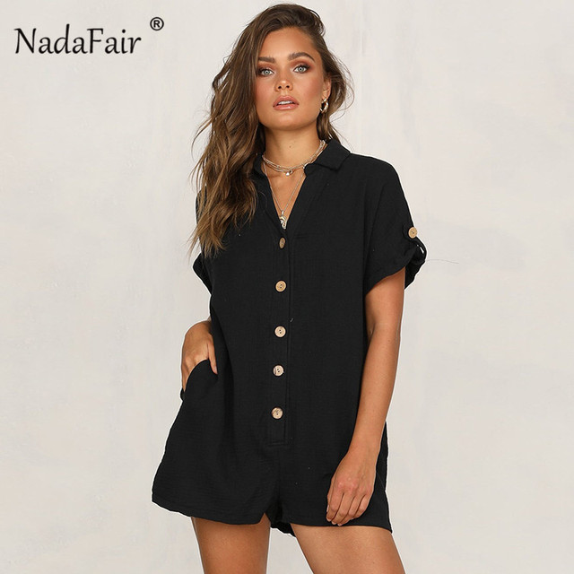 6b1c136fe737 Nadafair short sleeve single-breasted casual women sexy playsuits 2019  turn-down collar loose