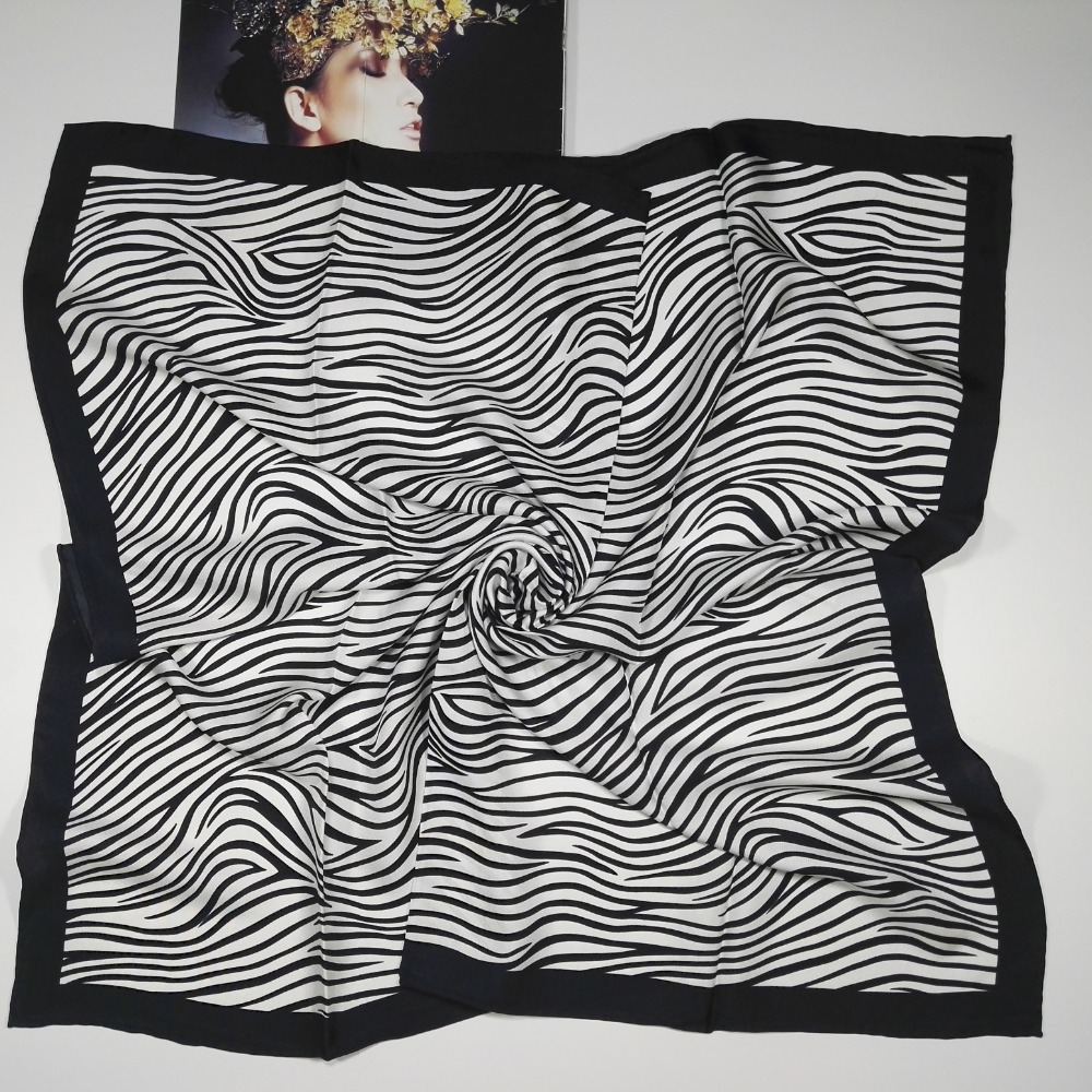 Zebra Pattern Print 100% Silk Twill   Scarf   Women's Square Silk   Scarves     Wraps   Shawl Fashion Clothing Accessory