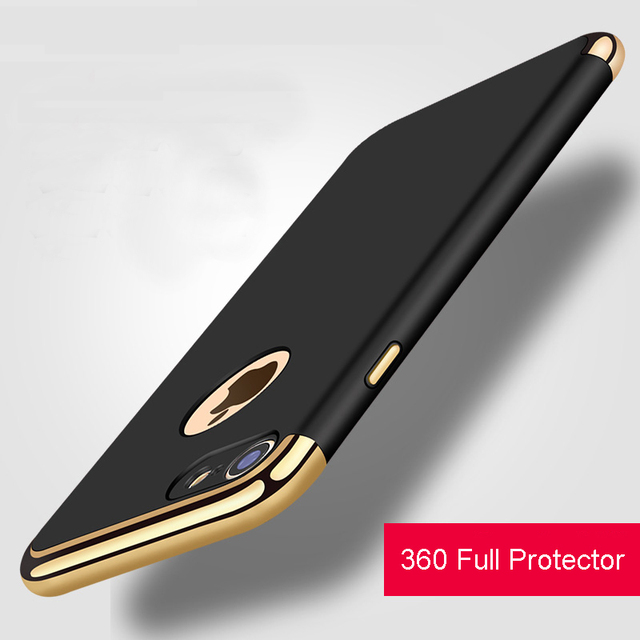 Vpower Plating Case For iphone 7 plus iphone 7 Case Gold Black Luxury Thin Back Hard Armor Case For Apple iPhone 7 6 Plus Cover