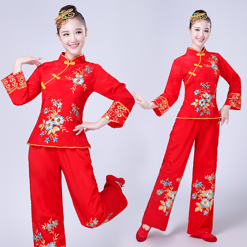 Nationale Dans Kleding Vrouwelijke Middelbare Leeftijd Fan Dans Kostuum Nieuwe Yangko Kleding Drum Vierkante Dans Past China Nationale Kleding