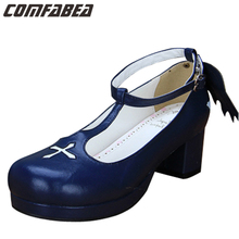 Black Blue White Colors Plus Size 34~44 Princess Sweet Lolita Shoes Gothic Punk T-Strap Thick Heel Pumps Wing Shoes For Girls