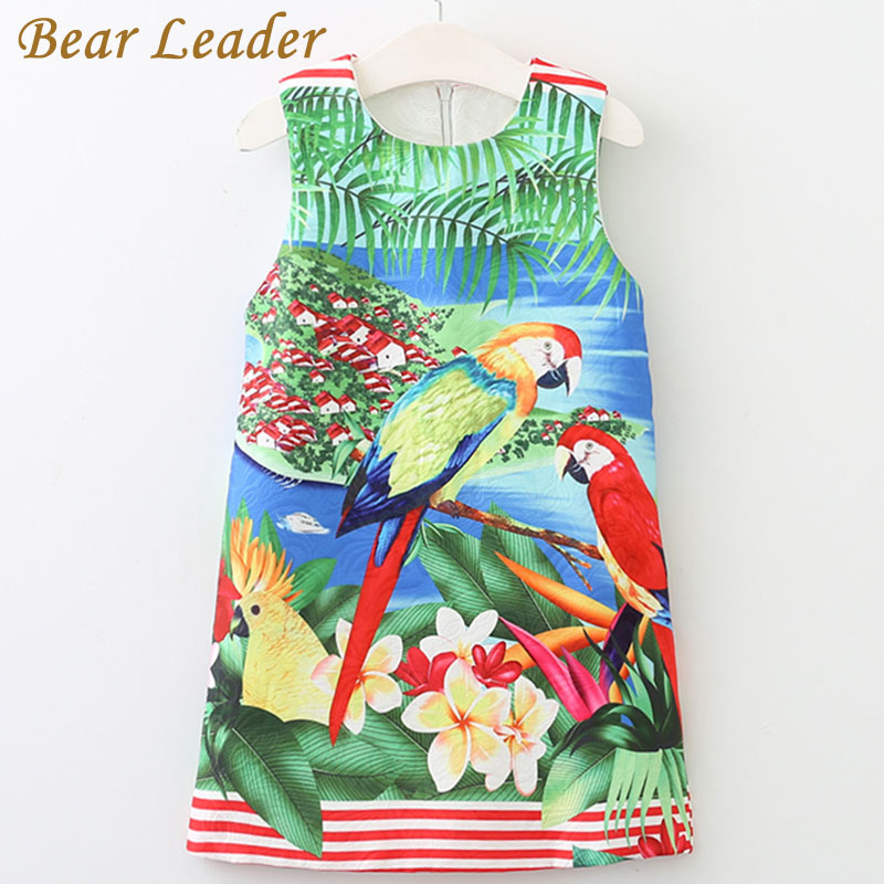 Bear Leader Girls Dress 2017 Brand Sleeveless Kids Dress European and American Style Cartoon Landscape Painting Children Clothes 100% real photo brand kids red heart sleeve dress american and european style hollow girls clothes baby girl clothes