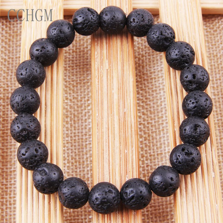 CCHGM 2018 Hot Trendy Lava Stone beads Pave Imperial lava Charm Bracelet For Men Or Women Bracelet Jewelry Pulseira hombres
