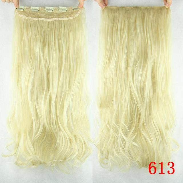 60cm Synthetic Clip In Hair Extension Heat Resistant Hairpiece Natural Curly Wavy Hair Extensions