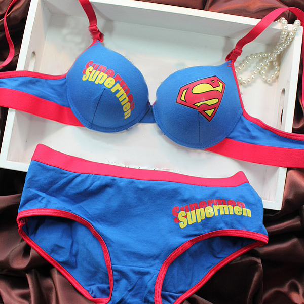 6b2dce7d13 Free shipping New design push up bra panty set ladies superman style  underwear