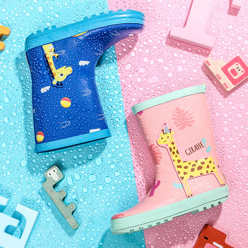 Boys Girls Rain Boots Animal Embroidered Safety Reflective Strip Waterproof Rubber Skid-proof Kids Children Slip-on Rainboots