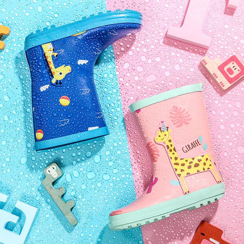 Boys Girls Rain Boots Animal Embroidered Safety Reflective Strip Waterproof Rubber Skid-proof  Kids Children Slip-on Rainboots