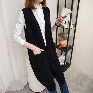 Image 4 - Camisola longa colete feminino tricô cardigan colete senhora 2019 novo outono inverno coreano solto gilet sólido sem mangas jaqueta