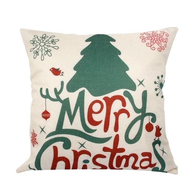 FENGRISE 45x45cm Pillow Case Christmas Decorations For Home Santa Clause Christmas Deer Cotton Linen Cover Cushion Home Decor 4