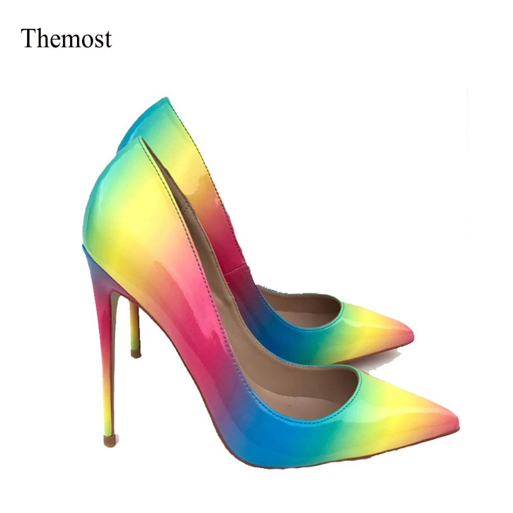 Themost Womens Fashion Slip on Dress Pumps Colorful Rainbow Print Pointy Toe Pencil High Heel Shoes Big size plaid print back slit pencil dress