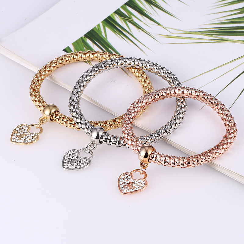 Bohopan 2019 Rhinestone Heart Pendant Bracelets Bangles Women Exquisite Elastic Bracelets Three layer Mixed Color Bracelet Set in Bangles from Jewelry Accessories