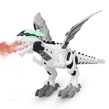 Electronic Dino Robot Light Up Walking Toy Mist Spray Dinosaur with Sound