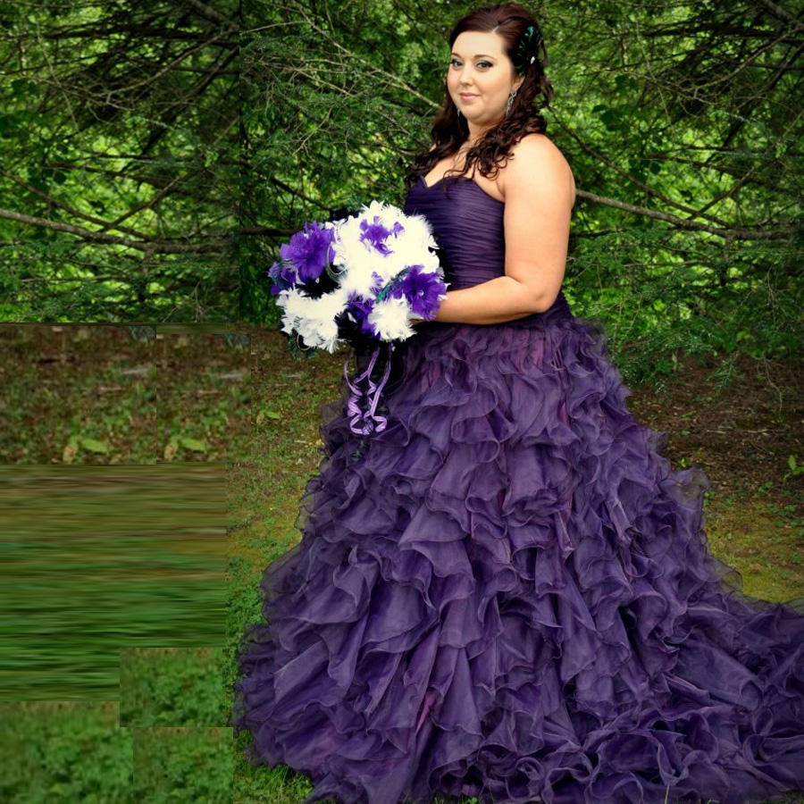 Hot sale sweetheart corset gothic purple wedding dress for Purple plus size dresses for weddings