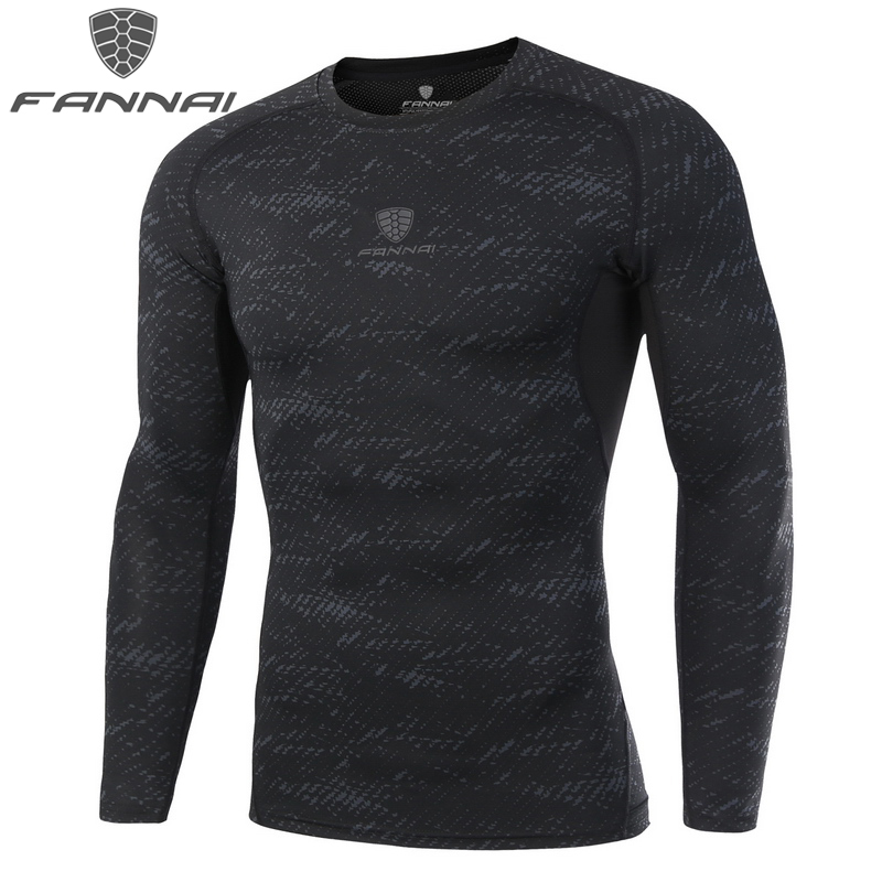 FANNAI Compression Camouflage Running T shirt For Men Gym font b Fitness b font Tight Sportwear