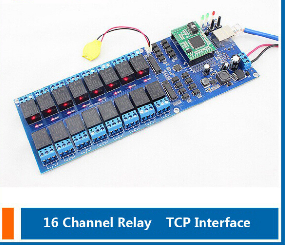 ФОТО (USR-R16-T) Industrial 16 Channel light controlling Relay module,Gate and door Remote Control Switch Module,TCP/IP Interface