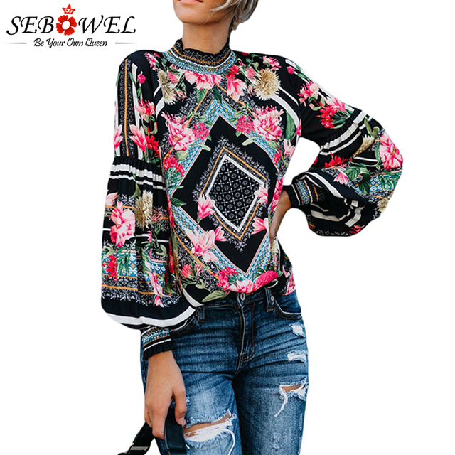 b9c76b847758fd SEBOWEL Black Bohemian Floral Women Blouse Shirts Chic Long Sleeve Womens  Tops and Blouses Leopard Print Female Shirts Top 2019