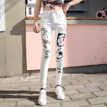 100% Original Brand Designer Women Jeans High Quality White Denim Skinny Fashion Casual Printed Waist Ladies