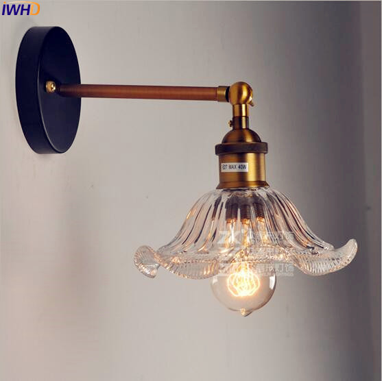 IWHD Glass Style Loft Industrial Wall Light Fixtures Home Lighting Edison Retro Vintage Wall Lamp LED Lampara Pared  Arandela glass wooden arm retro vintage wall lamp led edison style loft industrial wall light sconce home lighting appliques pared