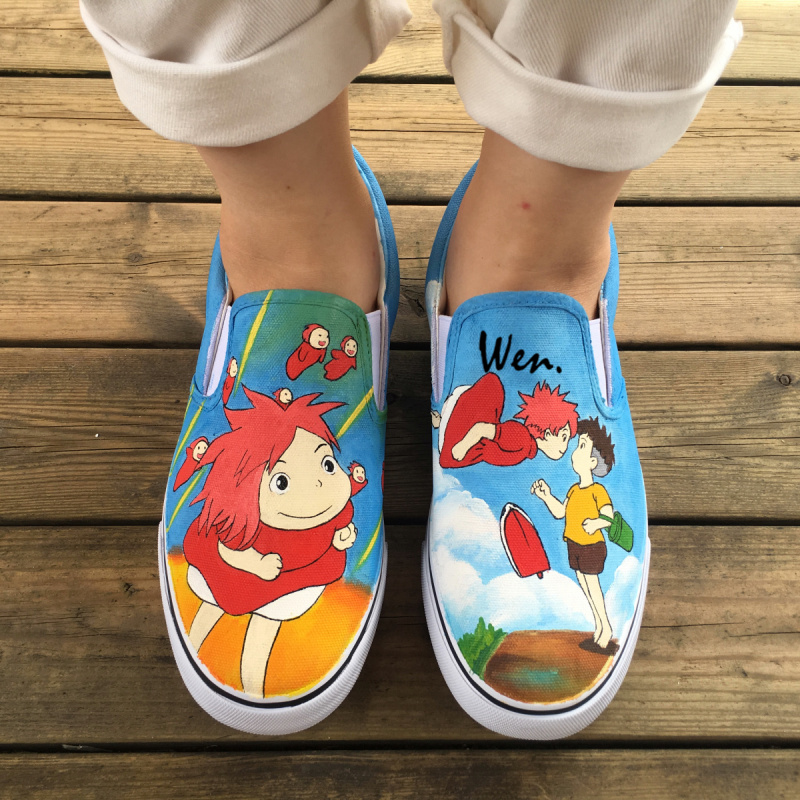 Wen Hand Painted Canvas Sneakers Design Custom Anime Ponyo Men Women's Slip On Shoes for Christmas Birthday Gifts wen design hand painted shoes custom anime samurai champloo slip on canvas sneakers for men women s special gifts page 4