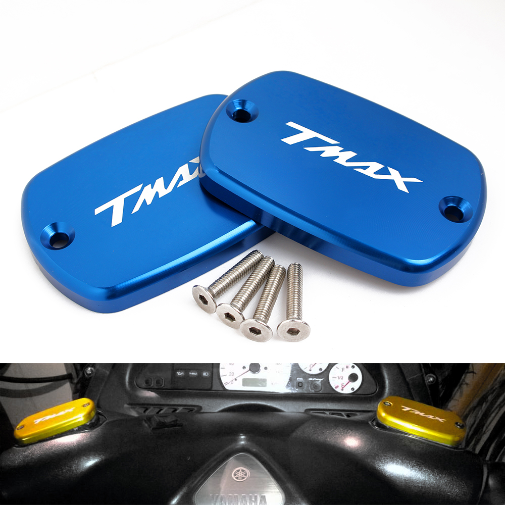 motorcycle with logo T-MAX Brake Fluid Fuel Reservoir Tank Cap Cover for yamaha tmax 530 2012-2015 t max 500 2008-2011 moto bike motorcycle cnc front brake fluid reservoir cap cover for yamaha t max 530 500 tmax530 xp530 2012 2016 tmax500 xp500 2008 2011