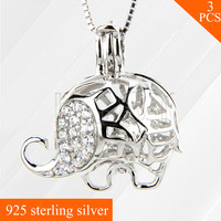 Hollowed 925 Sterling Silver Jewelry Necklace Pendant Lovely Elephant Cage Pendant 3pcs